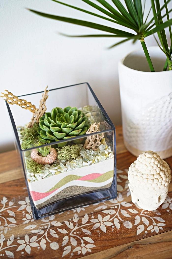 terrarium en verre pour succulentes avec des couches de sables naturels et colorés, mini jardin zen à faire soi même