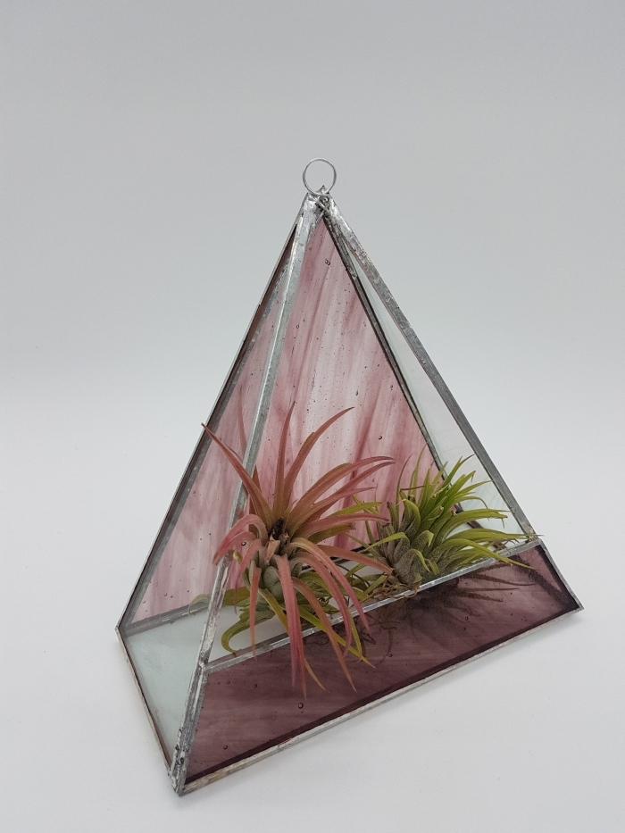 bricolage terrarium facile, modèle de terrarium fait maison dans un contenant ouvert en verre peint rose et métal