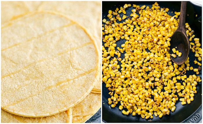 des tortillas mexicaines et du maïs poêlé, ingrédients pour une recette tacos rapide et facile