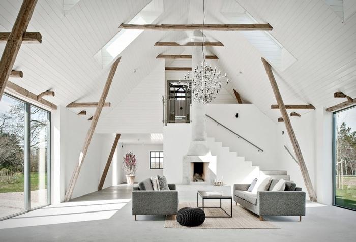 design intérieur style minimaliste dans un loft moderne, idée aménagement grange aux murs et plafond blancs avec sol ciment