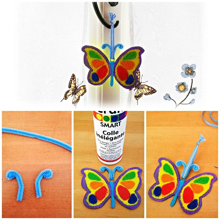 ornement de noël papillon décoré de sable, activité manuelle facile 3-5 ans sur le thème de noël