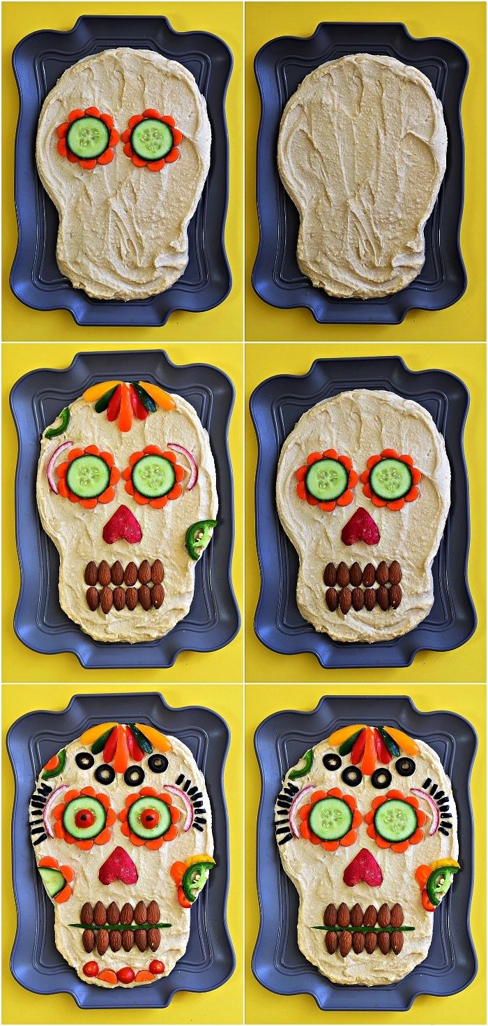 recette originale pour l'apero dinatoire halloween, tête de mort de houmous décorée avec crudités