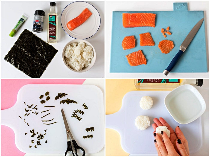 comment faire tamari sushi spécial halloween, sushi maison au saumon façon tête de citrouille d'halloween