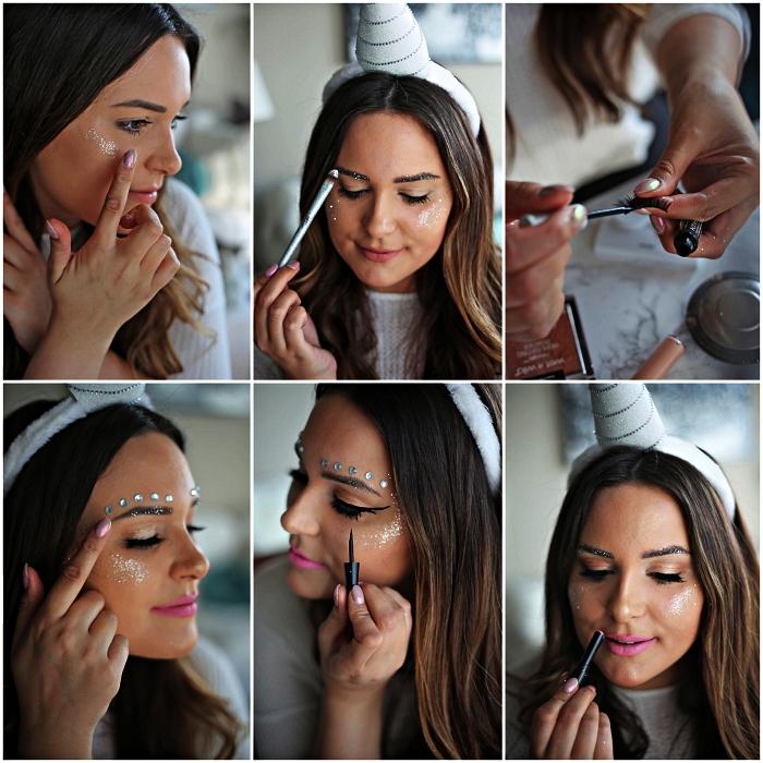 tuto maquillage halloween pour réaliser un look licorne simple, maquillage pailleté et irisé pour un look licorne épuré