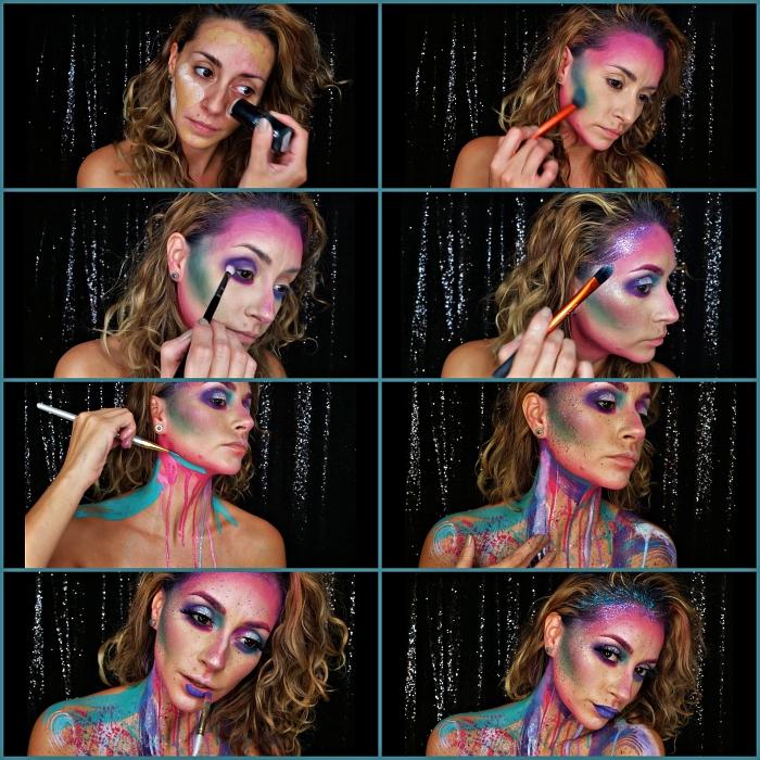 tuto maquillage halloween pour réaliser un look licorne aux teintes flashy avec la peinture à effet coulant sur le cou