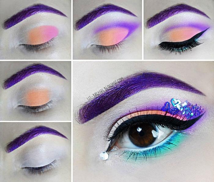tuto maquillage halloween en bleu violet et orange pour un déguisement de licorne de dernière minute