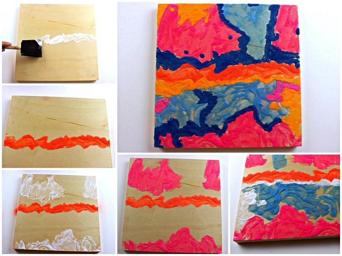 tuto pour réaliser un tableau de sable multicolore et abstrait, faire de l'art original avec du sable decoratif