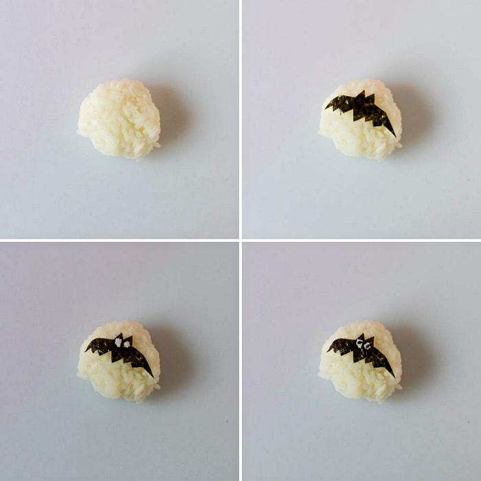 comment faire des sushis spécial halloween avec décoration découpées dans une feuille de nori, recettes originales pour un apero dinatoire halloween