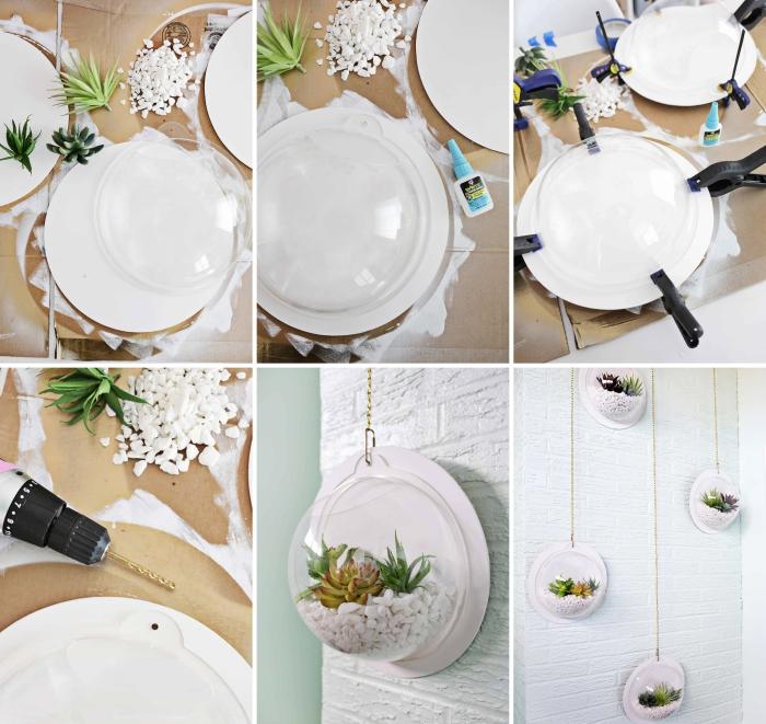 pas à pas pour faire un terrarium facile, bricolage terrarium mural avec plantes et galets, accrochage terrarium plante