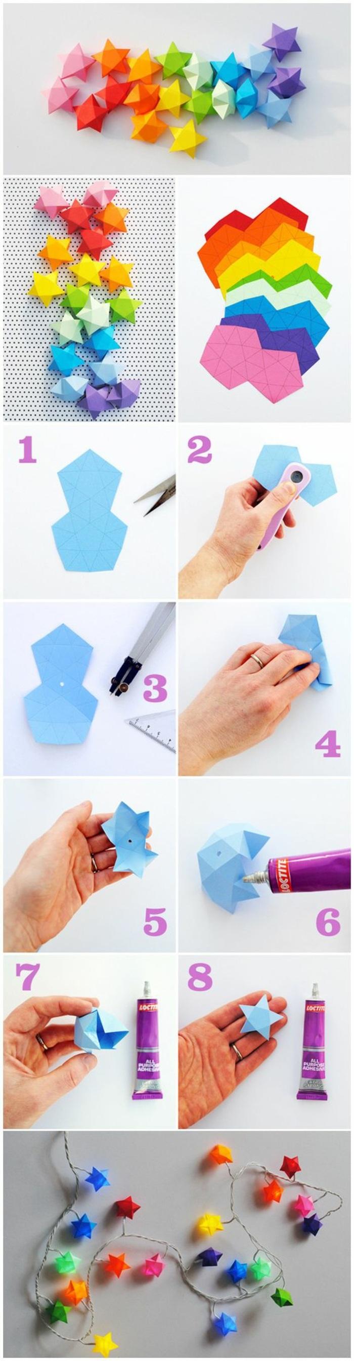 décoration murale à faire soi-même, activité manuelle facile et rapide, diy guirlande lumineuse avec étoile en papier