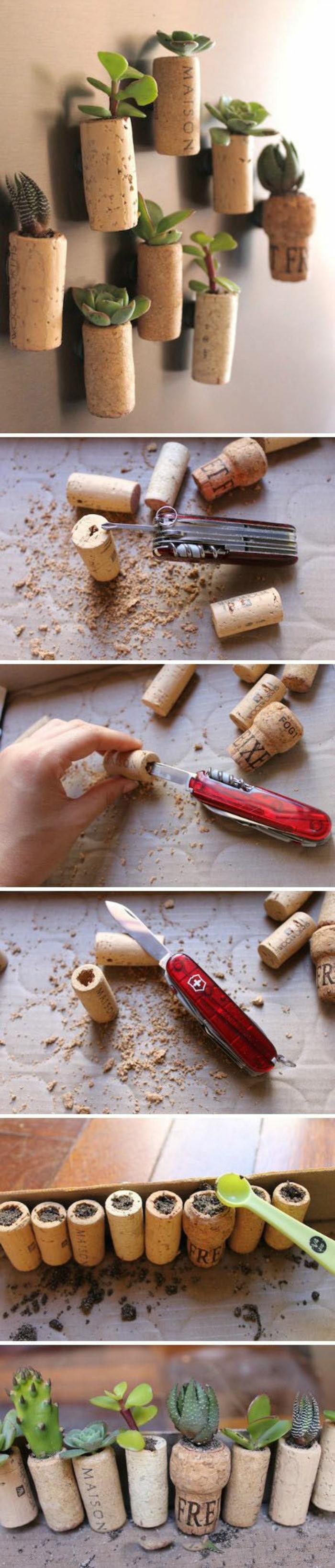 que faire avec des bouchons de liège, activité manuelle printemps, faire des minis pots fleurs avec bouchons de liège