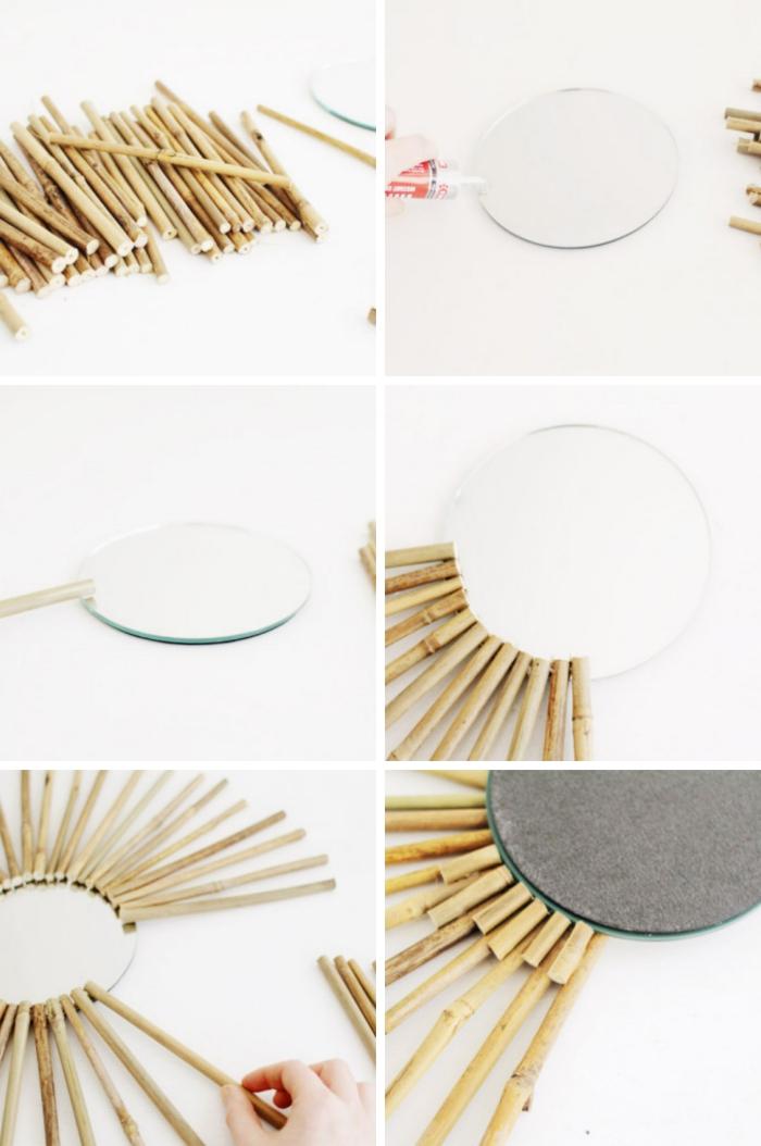 idée deco fait maison facile et rapide, pas à pas création miroir en forme de soleil avec bâtonnets de bambou