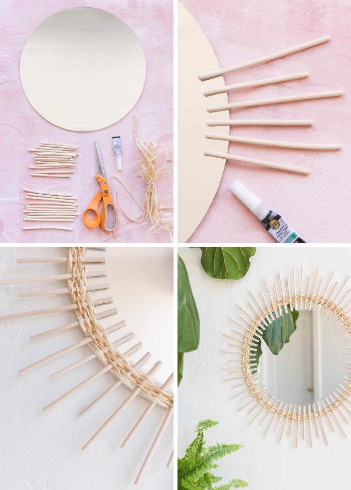 comment faire un miroir soleil rotin, pas à pas bricolage miroir rond avec bâtonnets de rotin et raphia naturel