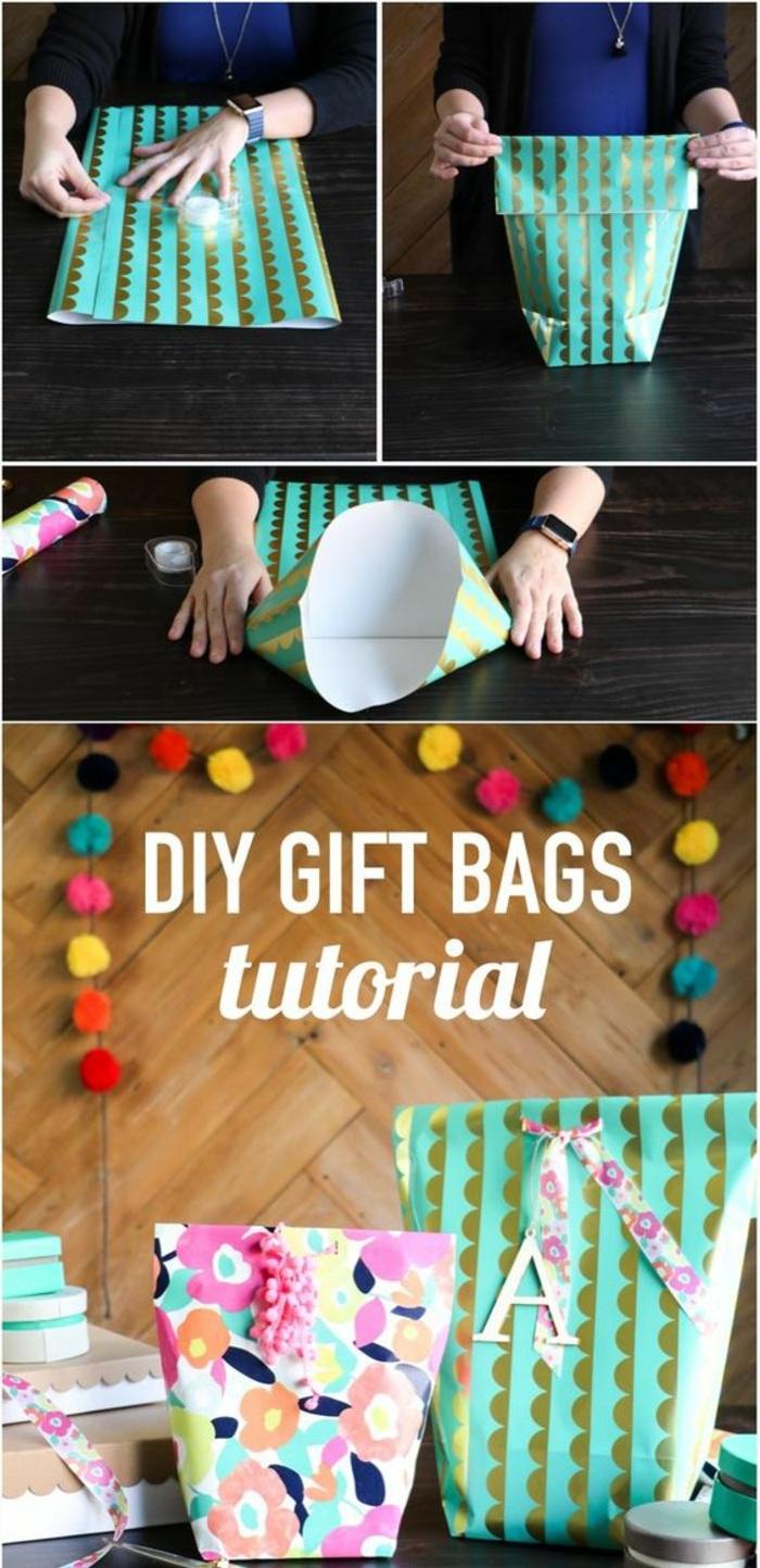 activité manuelle facile et rapide, technique pliage de papier pour faire un sac cadeau, loisir créatif facile ado et adulte