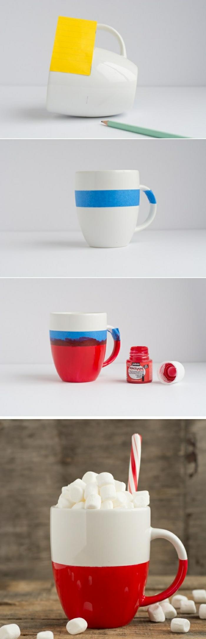pas à pas comment personnaliser un mug, modèle de tasse blanche et rouge DIY, activité manuelle facile et rapide