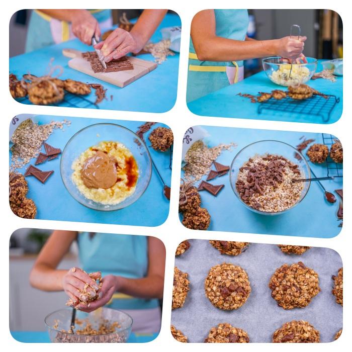 idee de recette cookies moelleux aux flacons d avoine, copeaux de chocolat, sirop d erale, beurre de cacahuete, bananes écrasées