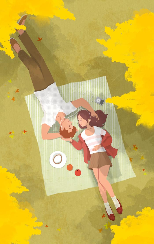 Couple adorable sur une couverture dans le parc, pique nique dessin fille et garçon, dessin d'automne, beauté nature
