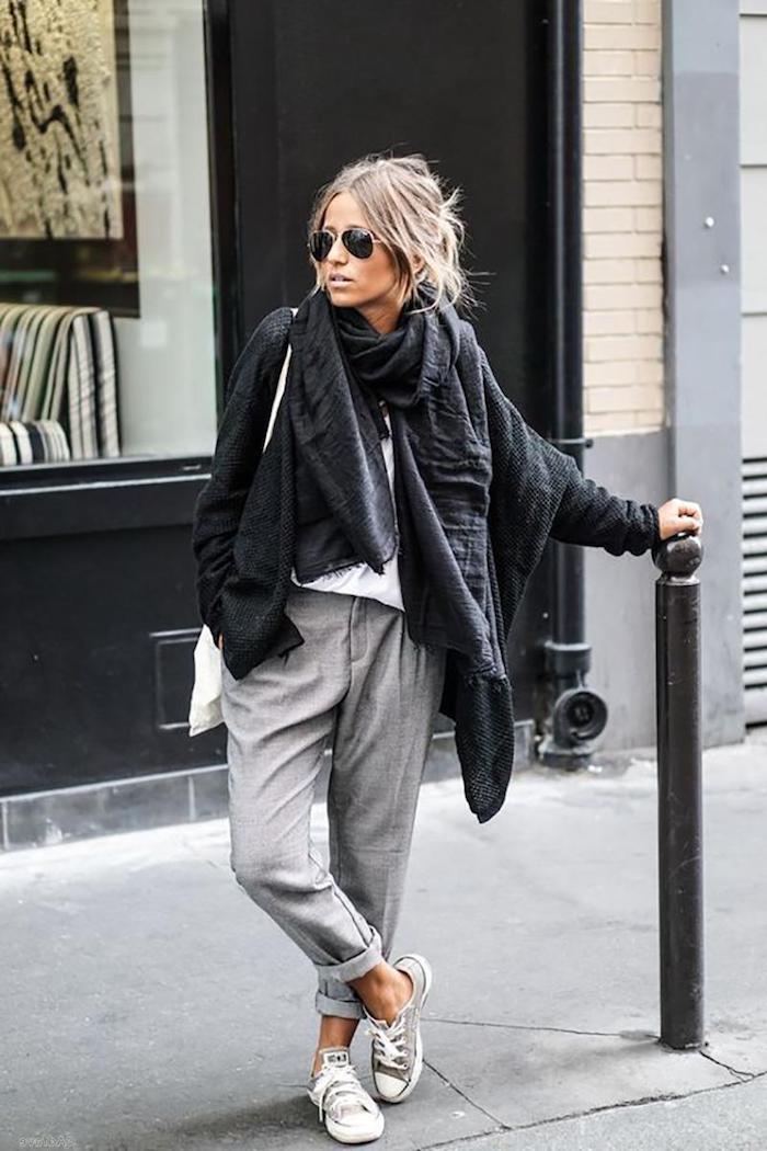 Gris pantalon sportive, veste noire grande taille, photo pantalon carotte femme, pantalon lin femme tenue chic