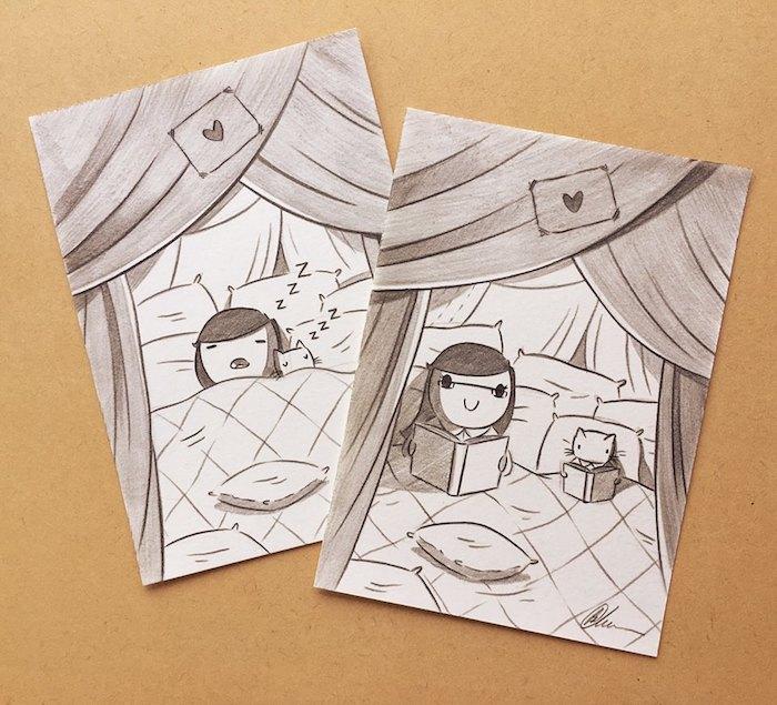 FIlle et son chat idée dessin simple, lit avec beaucoup de coussinets, lire un livre coloriage feuille, dessin d'automne, image paysage
