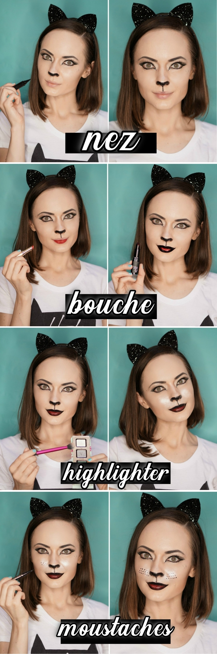 exemple comment se maquiller comme chat pour Halloween, tuto maquillage facile, idée maquillage chat halloween