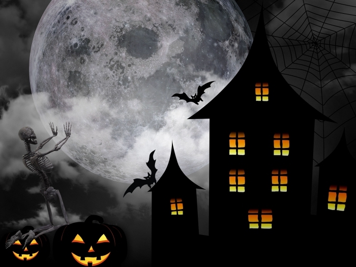 art digital paysage terrifiant pour Halloween, idée photo écran PC pour la fête de Halloween avec pleine lune et squelettes