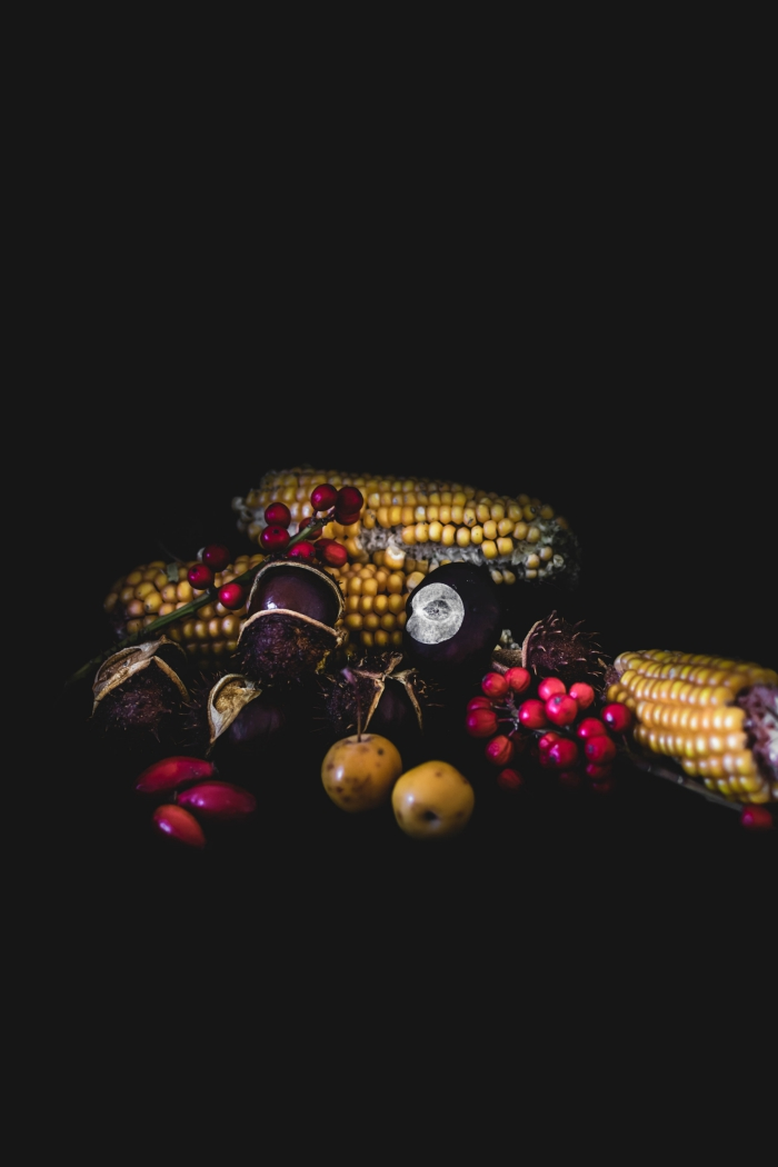 idée fond d écran automne, wallpaper iphone noir avec châtaignes et maïs, photo halloween pour fond écran