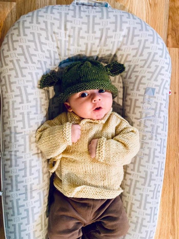 Yoda en crochet déguisement simple, star wars caractère deguisement bebe garcon, deguisement halloween enfant