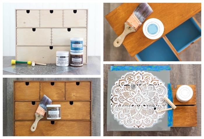 Idée projet DIY simple à réaliser avec pochoir, quelle peinture pour repeindre un meuble en bois, relooking meuble