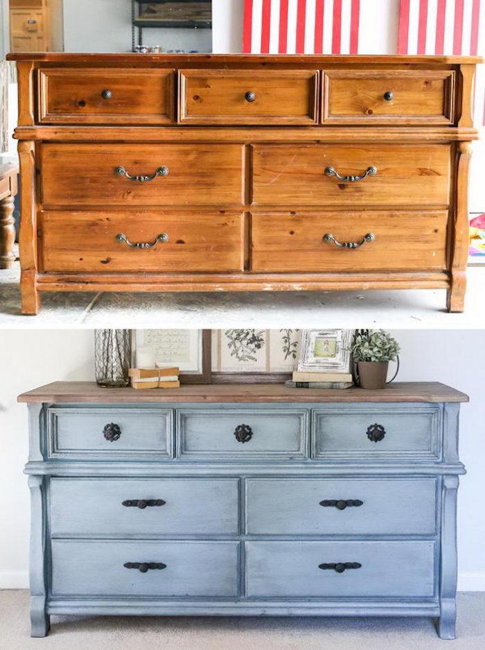 Bleu claire transformation meuble peint, quelle peinture pour repeindre un meuble en bois