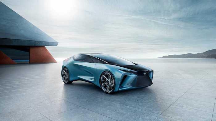 Beau concept de voiture du future par Lexus, le nouveau modèle LF-30 vue de haut, image conception de voiture
