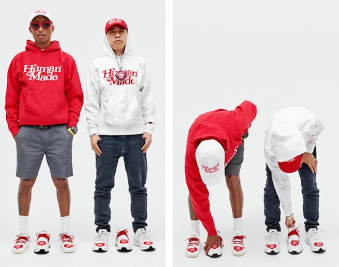 Pharrell Williams revisitent ses Solar Hu, Tennis Hu et NMD Hu pour une capsule avec son ami Nigo, Human Made Adidas