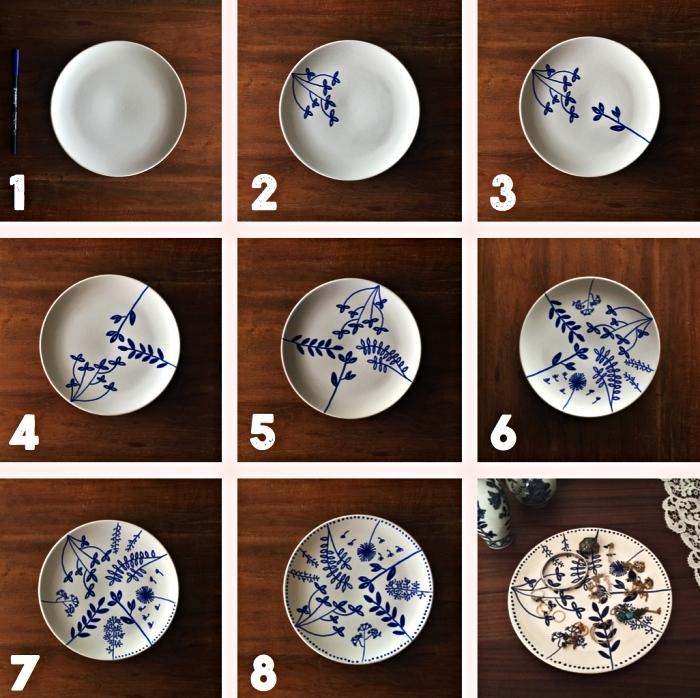 customiser une assiette blanche avec des motifs végétaux réalisés au feutre pour porcelaine