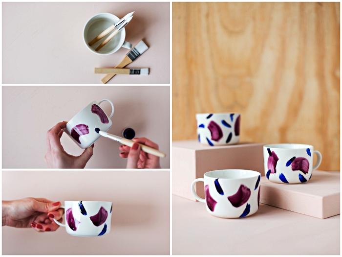 technique de peinture sur porcelaine à coups de pinceau, tasse à café personnalisée au design abstrait réalisé avec peinture pour porcelaine