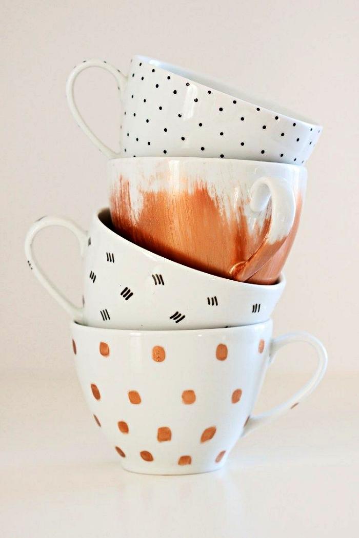 idées de loisirs créatifs adultes, idées de décoration pour tasses à café aves de la peinture pour porcelaine