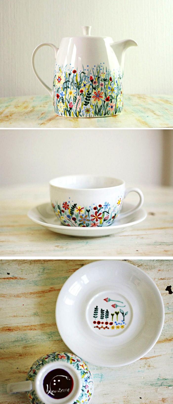 théière et tasse à café personnalisées avec des motifs floraux à la peinture porcelaine