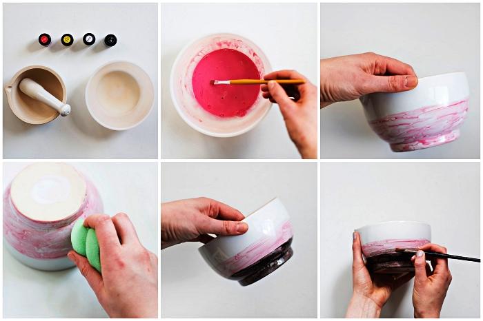 technique de peinture sur porcelaine pour réaliser un dégradé, personnaliser un mortier et son pilon avec de la peinture