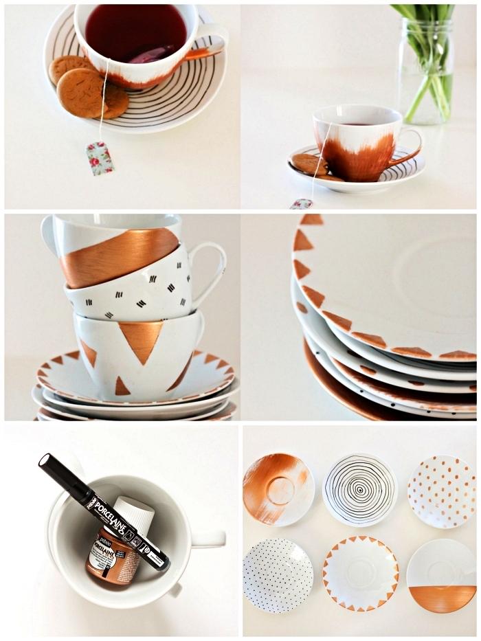 peindre des motifs en noir et cuivre sur sa vaisselle en porcelaine, idées de loisirs créatifs adultes avec de la peinture à porcelaine