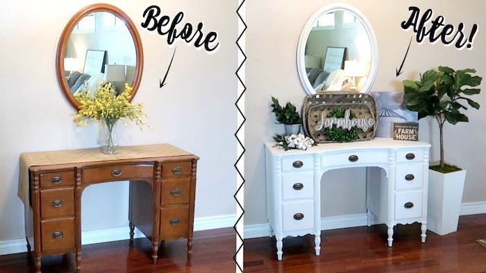 Avant après photo peindre un meuble en bois, repeindre un meuble de rangement en bois, meuble coiffeuse et miroir ronde