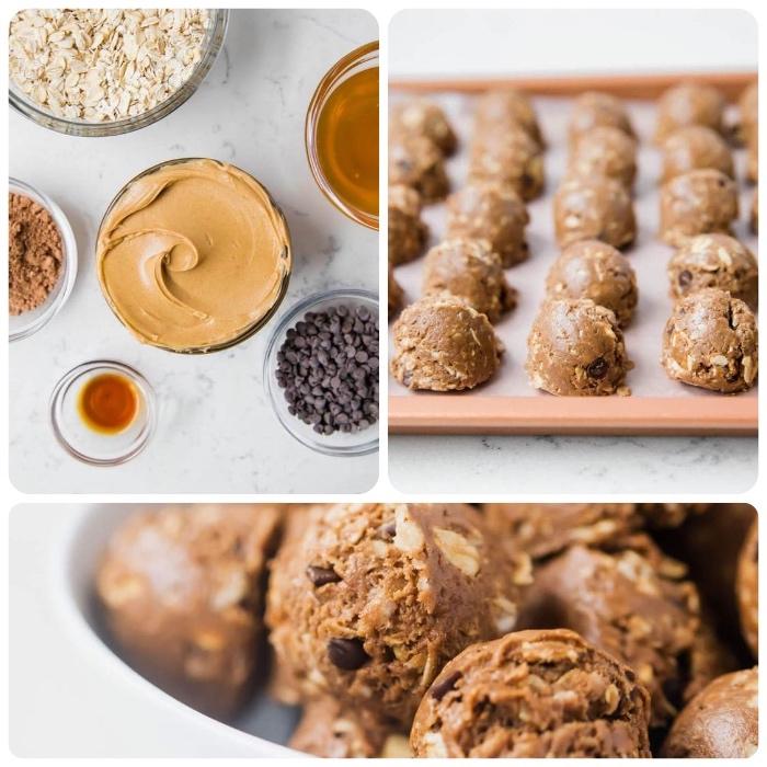 beurre de cacahuete, pepites de chocolat, cacao, flacons d avoine, miel, alimentation cétogène comment faire bombes keto