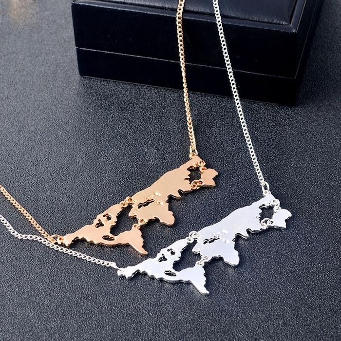Bijou pendant en or ou argent, carte du monde bijou cadeau pour voyageur, cadeau de voyage original pour femme