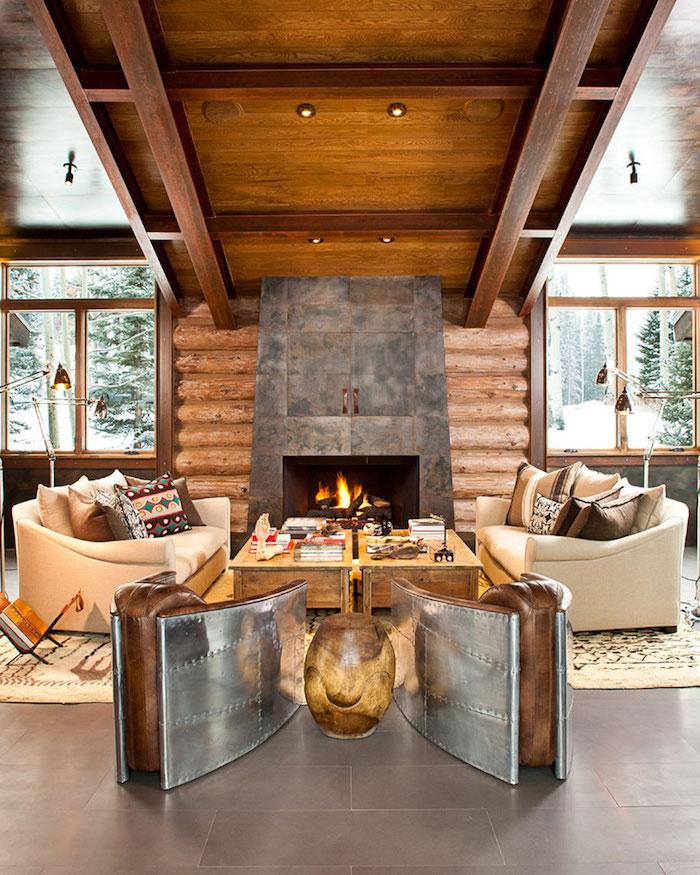 Rustique chic chambre chalet, deco montagne chic et confort dans la nature, style magnifique pour le salon cheminée feu
