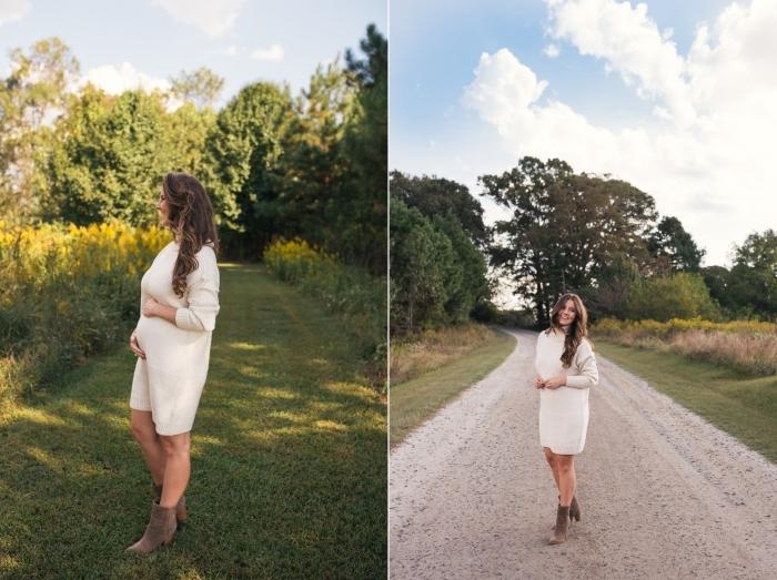 modèle de robe femme enceinte, comment porter une robe pull femme enceinte, idée look grossesse automnal en robe pull blanche et bottines velours