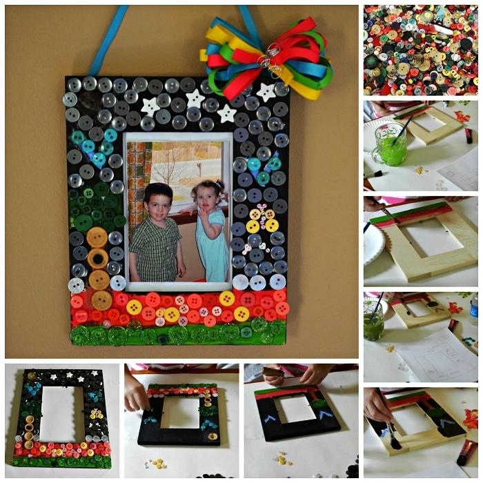 idée de cadeau personnalisé pour la fête des mères, cadre mural décoré de boutons au design et couleur différents