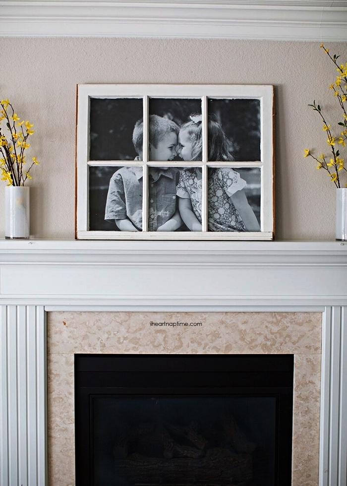 fenêtre détournée en grand cadre photo, réutiliser vieilles fenêtres comme des cadres photos