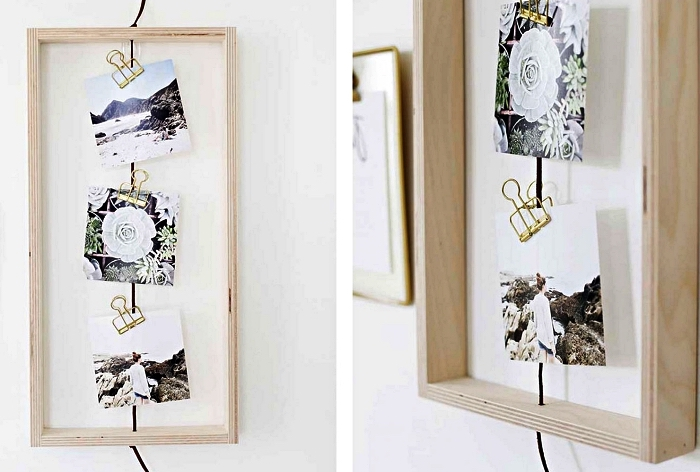 support photo composé d'un cadre en bois mural avec de la corde au milieu pour y accrocher ses photos