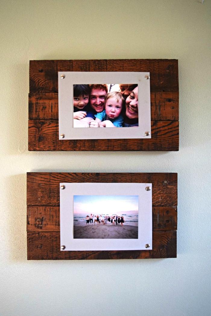 cadre mural en bois récup à réaliser soi même, support pour photos en bois récup à accrocher au mur