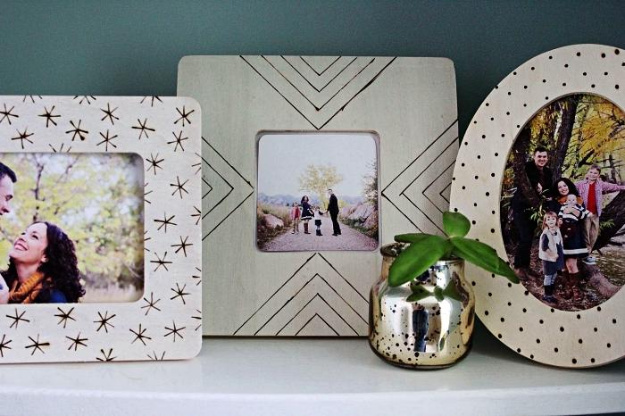 personnaliser des cadres photos avec la technique de la pyrogravure, deco cadre photo en bois avec la pyrogravure