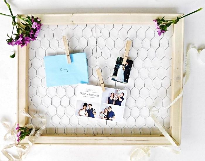 cadre photo pele mele en bois et grillage de poule avec pinces à linge, comment afficher ses photos d'une façon originale