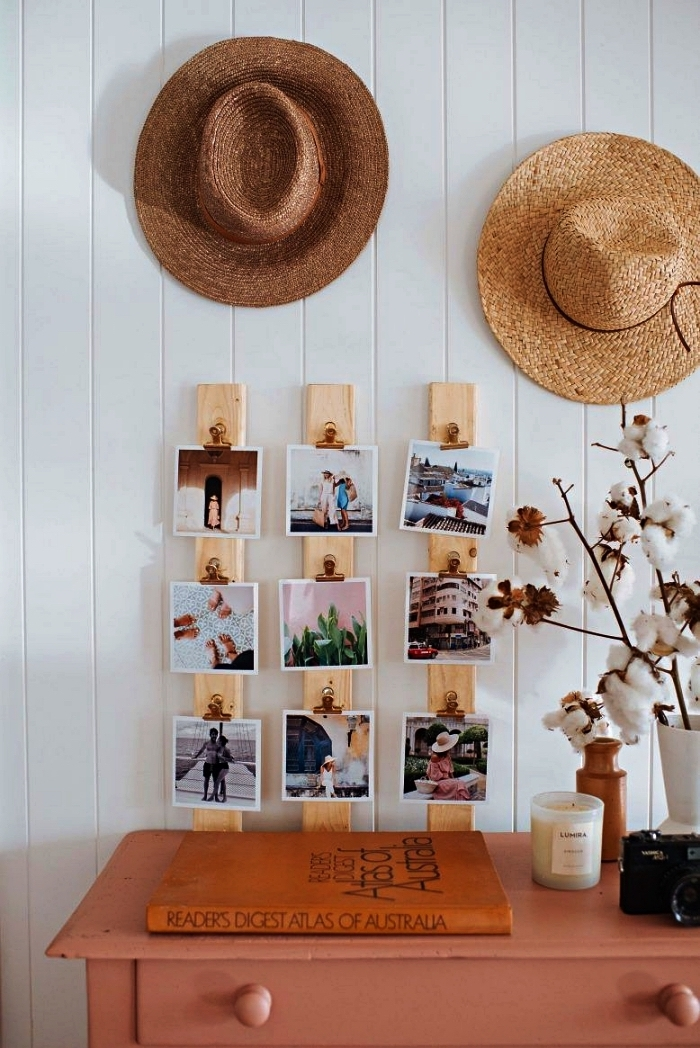 support photo en bois composé de trois lattes bois, idée originale pour afficher ses plus beaux tirages