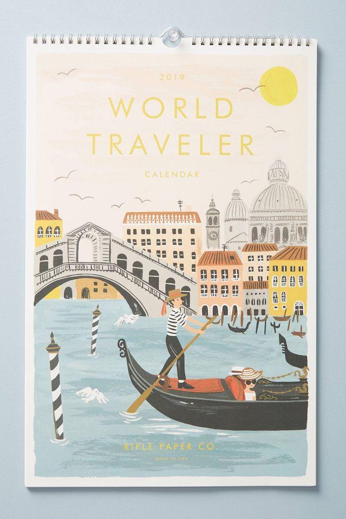 Calendrier world travel avec couverture image stylisée de Venice, cadeau a faire soi meme, idée cadeau voyage